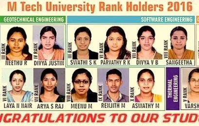 M.Tech UNIVERSITY RANKS-2016