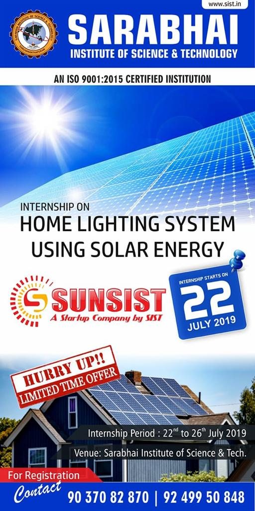 Internship on Home Lighting System using Solar Energy