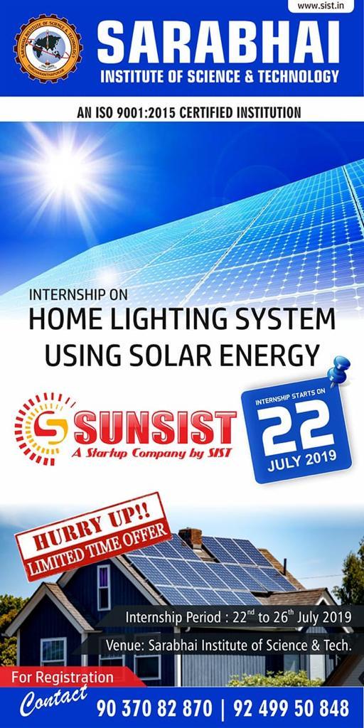 Internship on Home Lighting System using Solar Energy