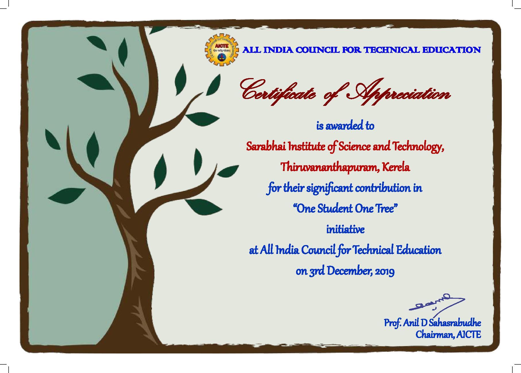 Certificate of Appreciation by AICTE